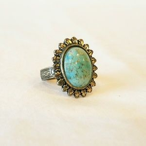 Silver Etched Floral SkyBlue Marbled Cab0chon Ring